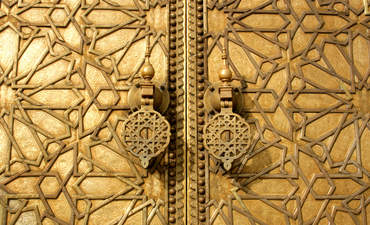 Golden doors in Marrakech, Morocco