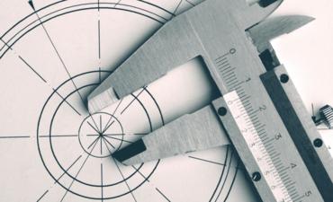 Measuring tools on blueprint