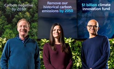 Microsoft President Brad Smith, Chief Financial Officer Amy Hood and CEO Satya Nadella