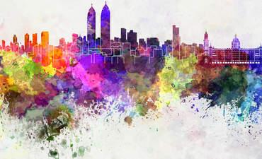 Watercolor of Mumbai's skyline