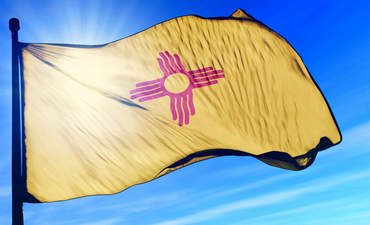 New Mexico state flag rippling in sunshine
