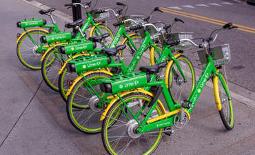 Parked bicycles from one of the bike-sharing services in Orlando, Florida.