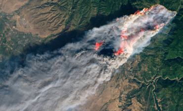Aerial view of 2018 wildfires in Paradise, California