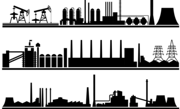 Illustration of silhouette of factories
