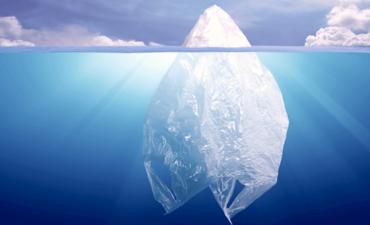 iceberg plastic bag in ocean