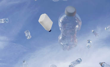 Plastic bottles floating in the sky