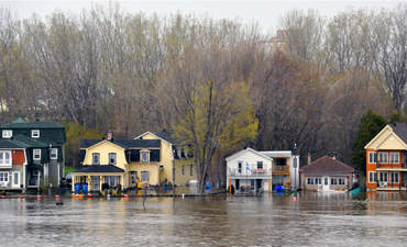 Severe flooding on the Quebec side of the Ottawa River in Pointe Gatineau.