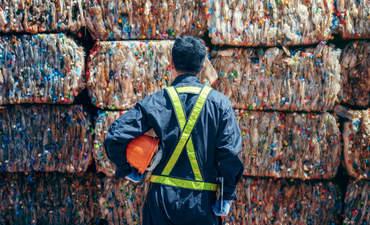 Bundles of plastic bottles