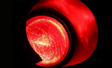 Closeup of red traffic light