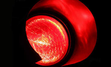Closeup of red traffic light