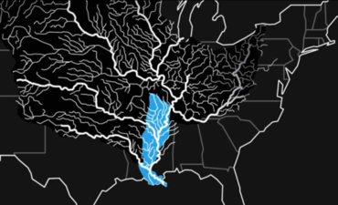 Black and white graphic of Mississippi River system