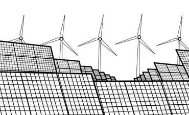 Black and white illustration of solar and wind power