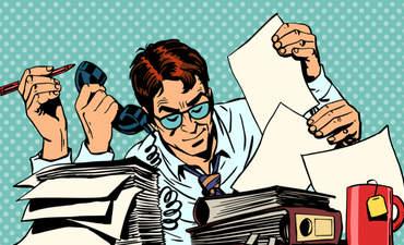 Cartoon man juggles paperwork