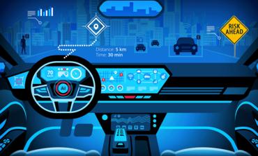 Risk ahead sign in futuristic car