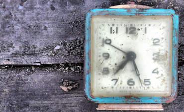 A rusted alarm clock