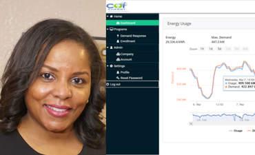 SaLisa Berrien and a COI Energy dashboard