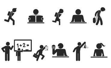 Black and white cartoons of schoolchildren