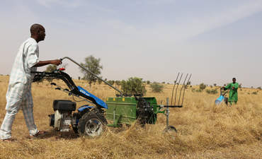 Farmers cutting grass in a rural field near Louga in North of Senegal. The machine is cutting the dry vegetation which will be used to feed the cows.