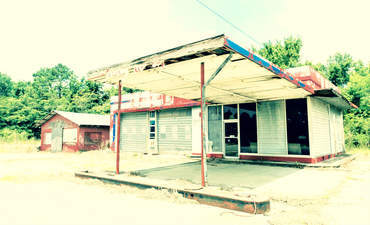An abandoned gas service station in South Carolina.