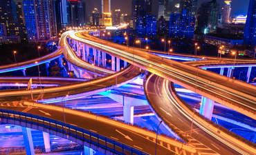 Shanghai freeways at night