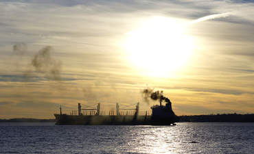 Ships emitting greenhouse gases