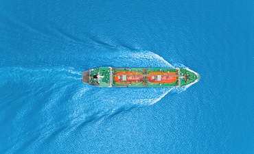Oil tanker, aerial view