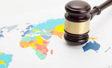 gavel, world map, lawsuit climate change