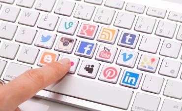 social media icons on keyboard