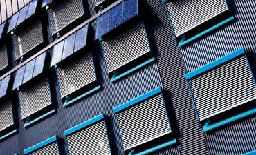 Solar panels on an apartment building