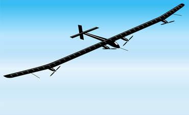 A solar powered plane flies high.