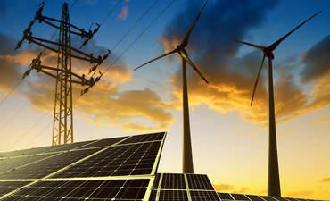 Solar panels and wind turbines concept art