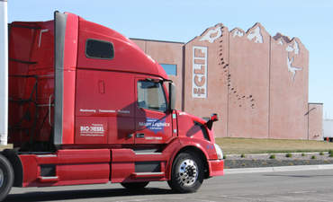 a States Logistics bio-diesel truck outside of Clif Bar's Twin Falls, Idaho bakery