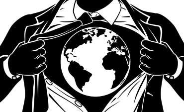 Superhero under business suit