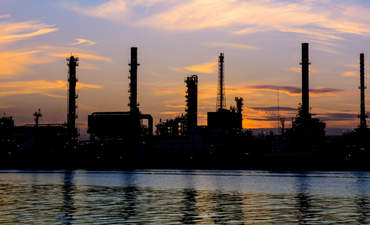 An oil refinery during over sunrise in Bangkok, Thailand