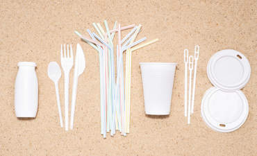Disposable single use plastic objects such as bottles, cups, forks, spoons and drinking straws