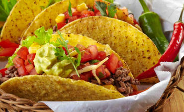 Closeup of tacos