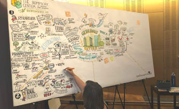 Taryl Hansen, from Frame the Message Ink, visually captured themes from presentations and working groups throughout the summit.