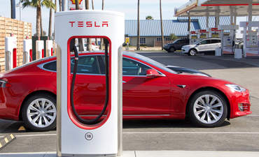 A Tesla charging in Bakersfield, California.