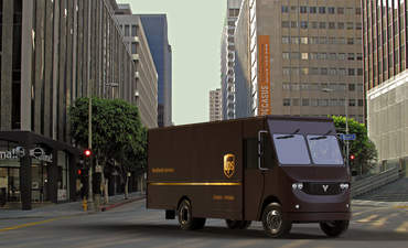 A mockup of an electric delivery van created by Thor Trucks and UPS.