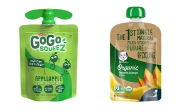 Fruit snack pouches recently redesigned to improve recyclability.