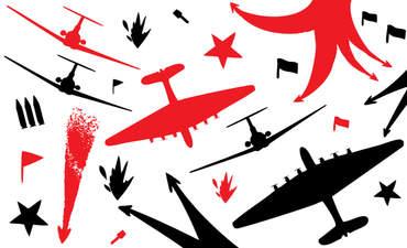 Illustration of airplanes at war