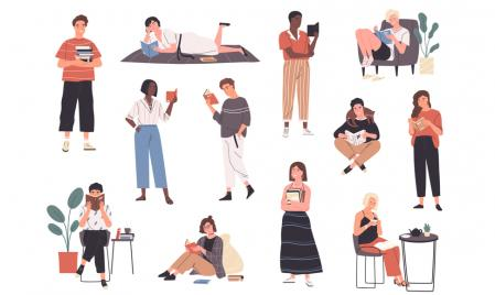 Illustration of people reading books, in different positions