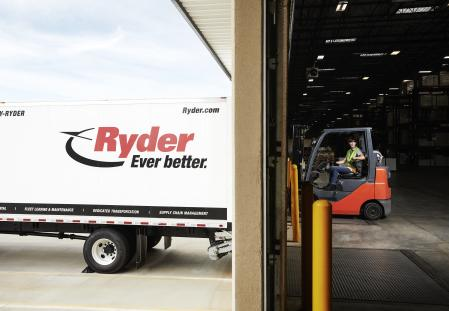Ryder truck and fork lift