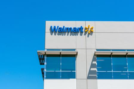 Walmart logo on facade of Walmart Labs office building in Silicon Valley