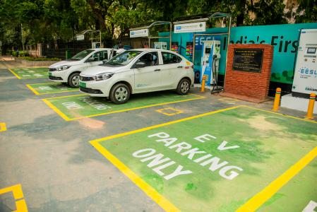 EVs charging in New Delhi, India