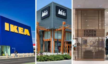 Storefronts of retailers IKEA, REI and Eileen Fisher