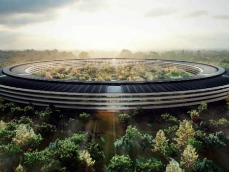 A rendering of Apple's spaceship-like headquarters in Cupertino.