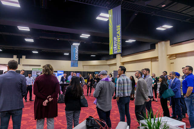 startup members gathering in the verge expo hall