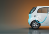 3D render illustration of an electric car charging