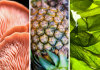 From left to right: close up images of mushrooms, pineapple and seaweed.